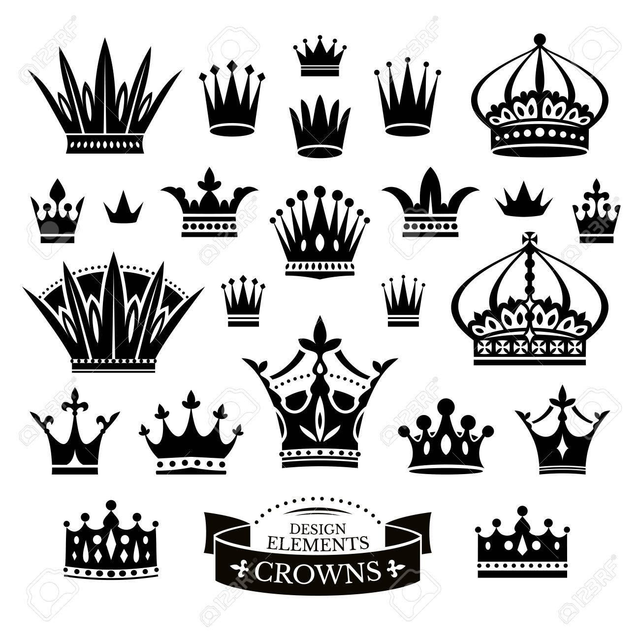 白いベクトル イラスト上に分離されて様々 な王冠のセットのイラスト素材