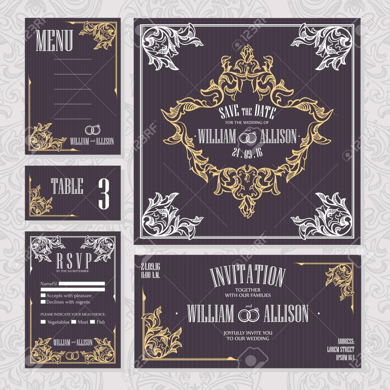 Set Hochzeitskarten Einladung Zur Hochzeit Speichern Die