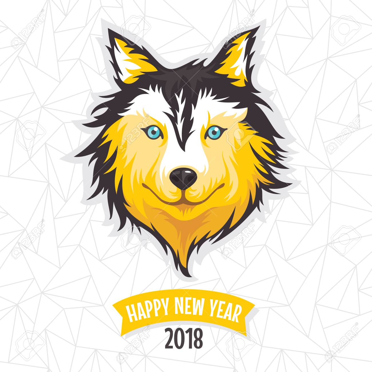2018 new year greeting card with stylized dog vector illustration 2018 new year greeting card with stylized dog vector illustration stock vector 80634425 m4hsunfo