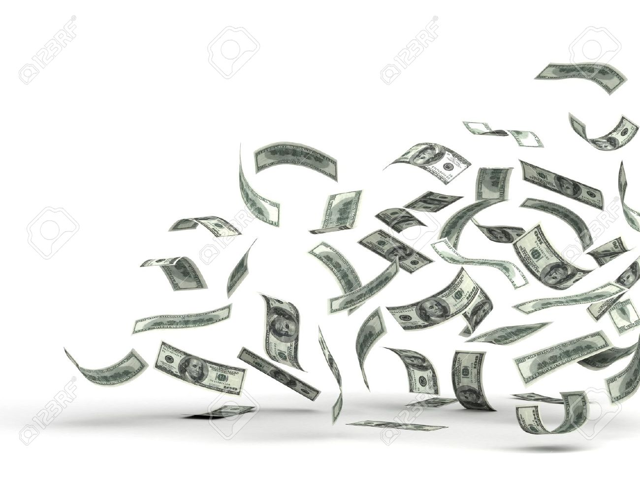 Flying Money  isolated with clipping path Stock Photo - 14376868