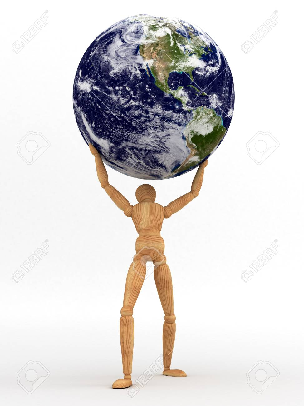 Holding Earth   Maps used from NASA Stock Photo - 14552388