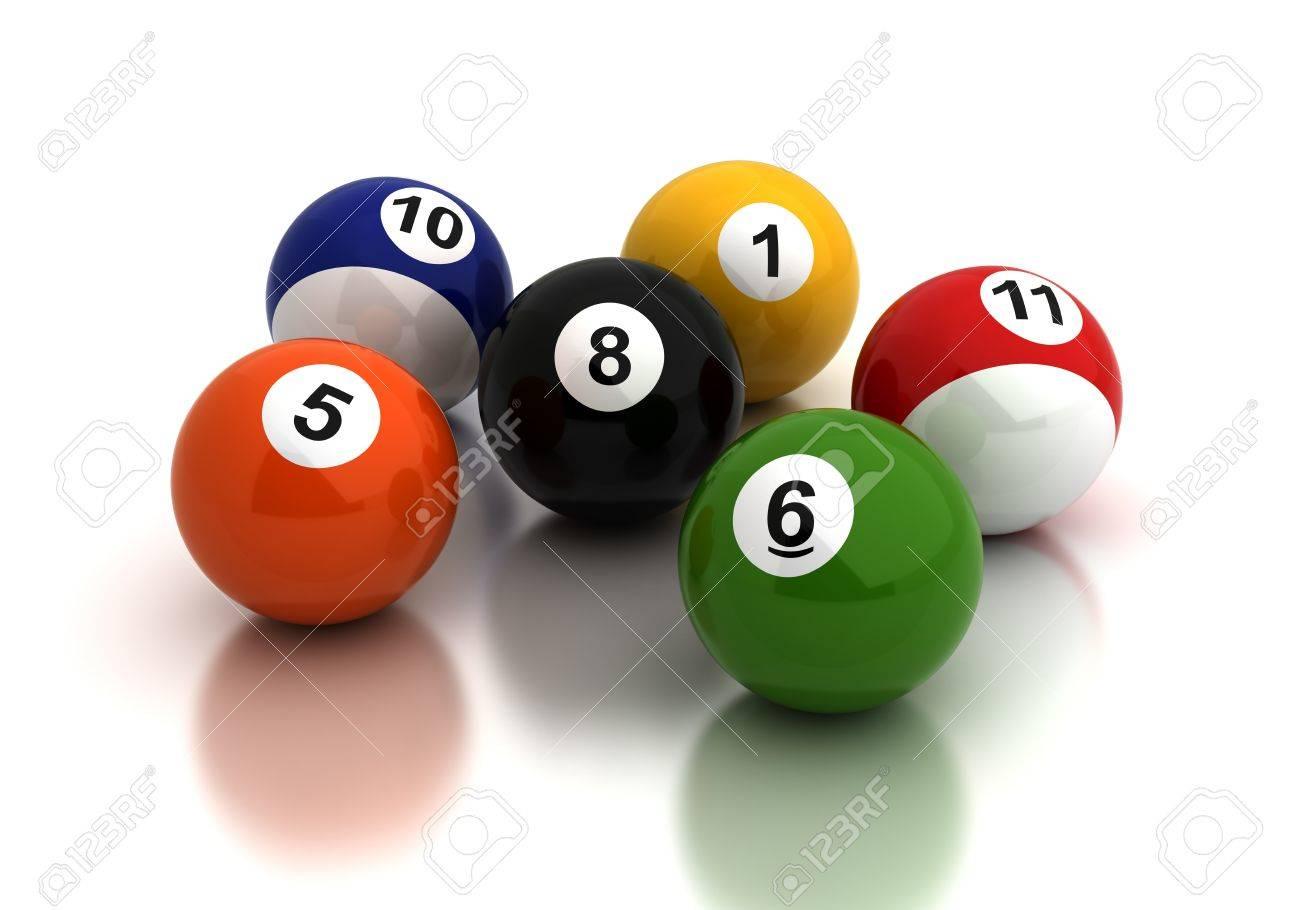 Billiard ballsl on white background  Computer generated image Stock Photo - 16239685
