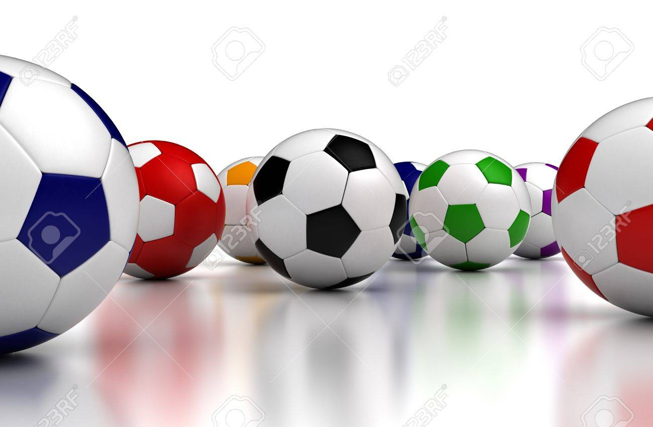 Colorful soccer balls on white background  Computer generated image Stock Photo - 16239710
