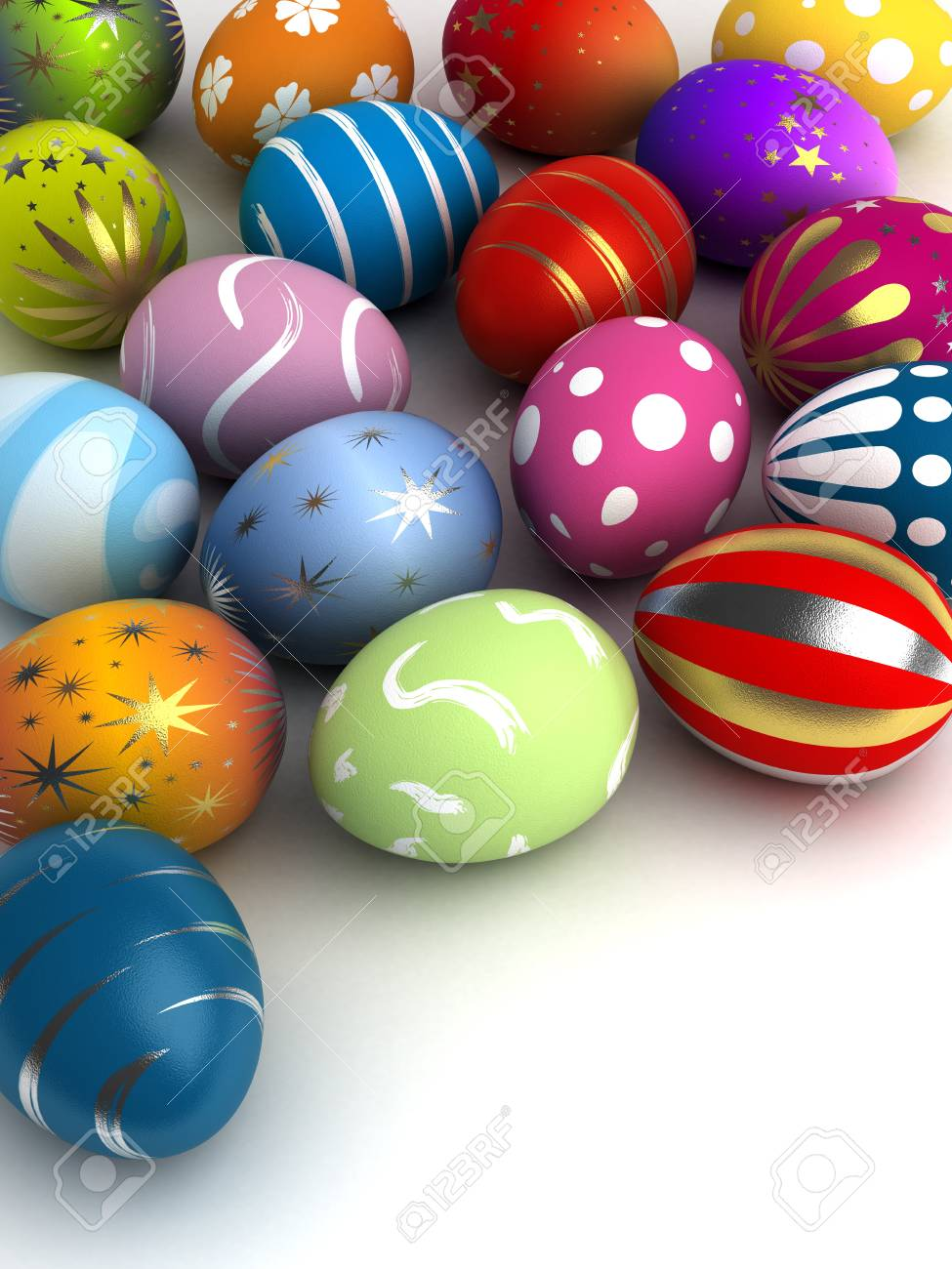 Multi color painted easter eggs  computer generated image Stock Photo - 16239759