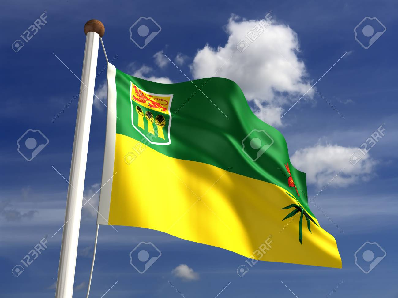 Saskatchewan flag Canada  isolated with clipping path Stock Photo - 16430994