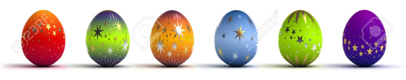 Easter Eggs on white background  Computer generated image Stock Photo - 16591572