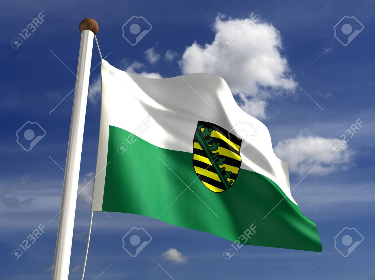 Saxony flag Germany  isolated with clipping path Stock Photo - 16724048
