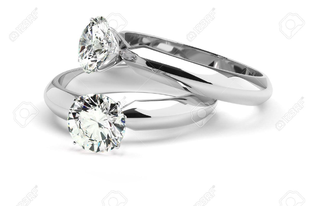 Two diamond ring on white background Stock Photo - 18661740
