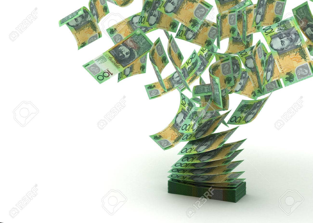 Flying Australian Dollar isolated with clipping path - 23411213
