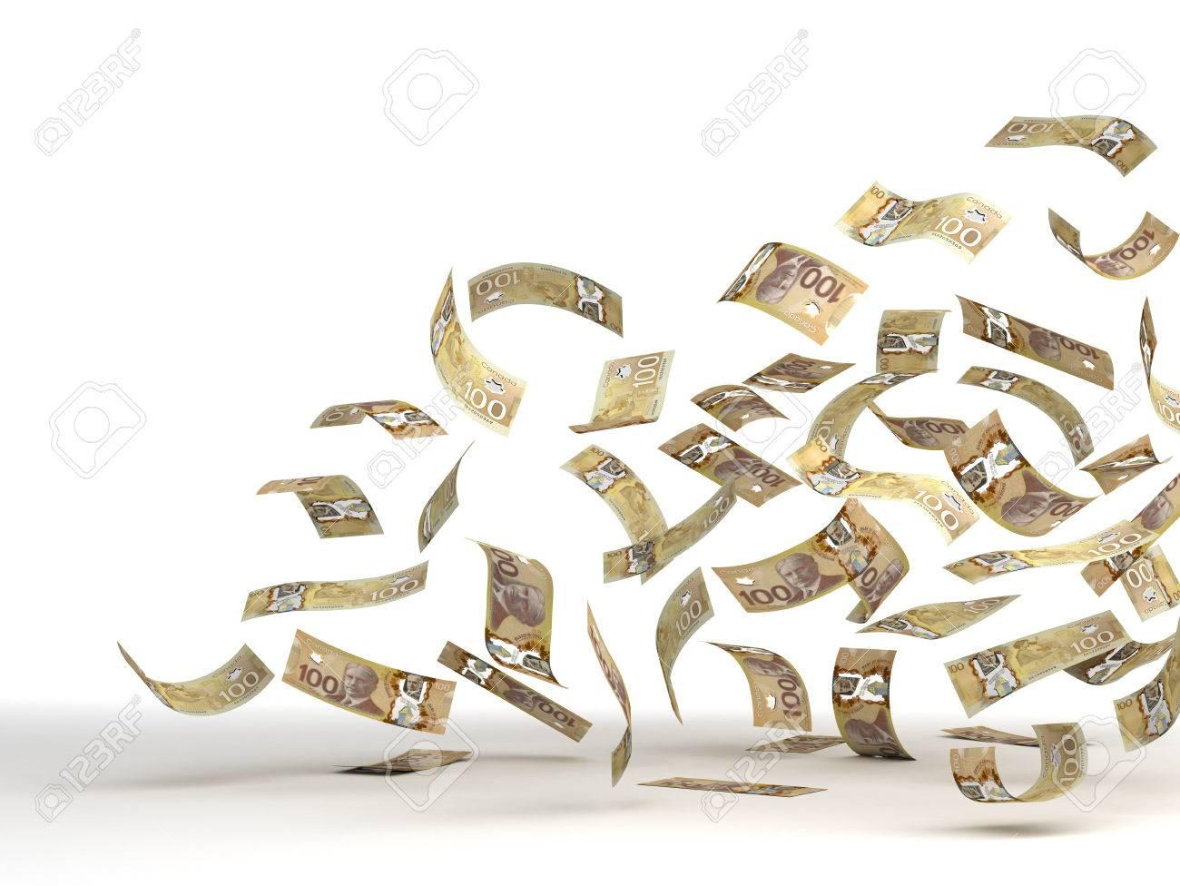 Flying Canadian Dollar isolated - 23557331