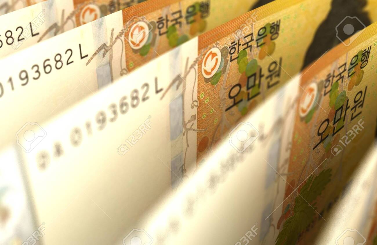 Arranged South Korean Won Closeup images - 146027474