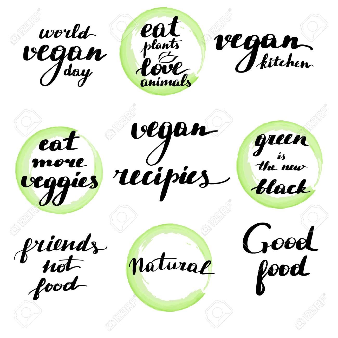 Modern Brush Lettering Set Handwritten Vegan Quotes Royalty Free