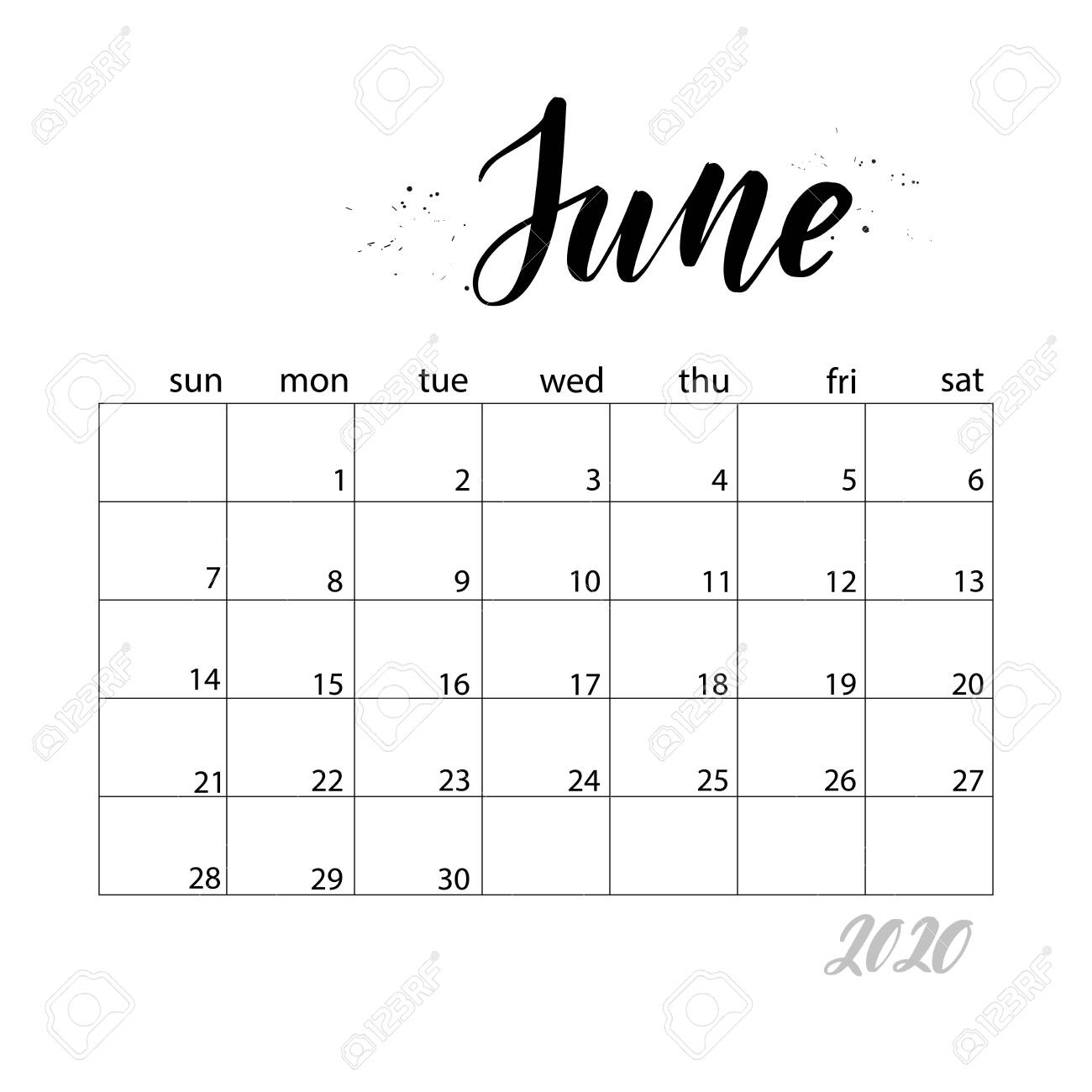 photograph about Stylish Planners and Organizers named June. Month to month calendar for 2020 calendar year. Handwritten progressive calligraphy..