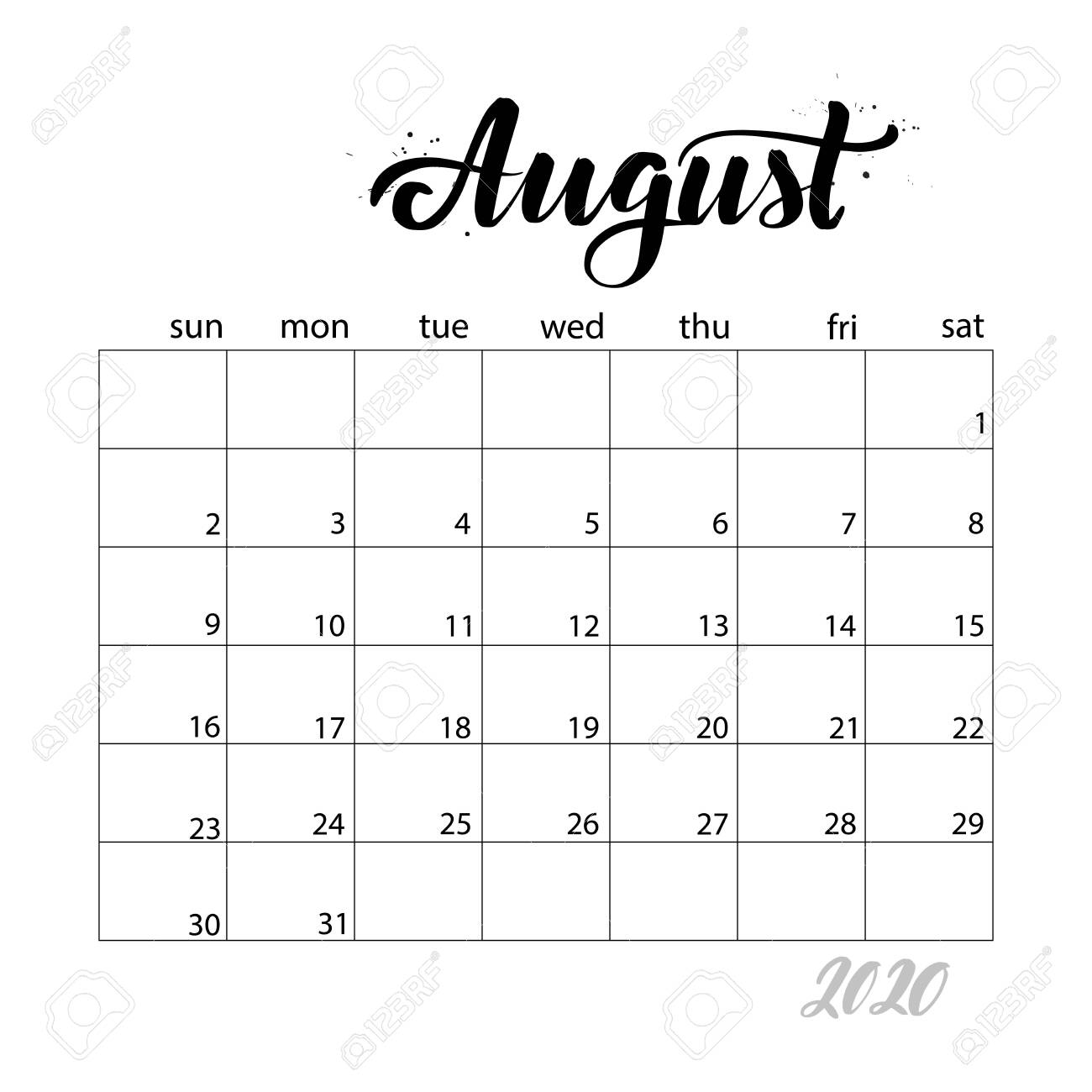 image relating to Stylish Planners and Organizers named August. Regular calendar for 2020 calendar year. Handwritten ground breaking calligraphy..