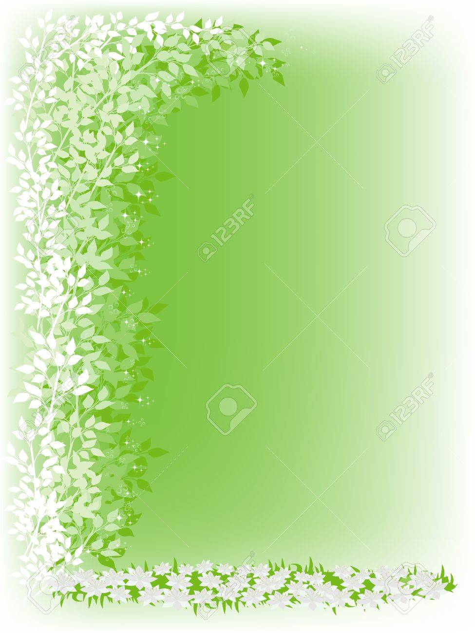 Gentle green background with foliage and white flowers Stock Photo - 6891534
