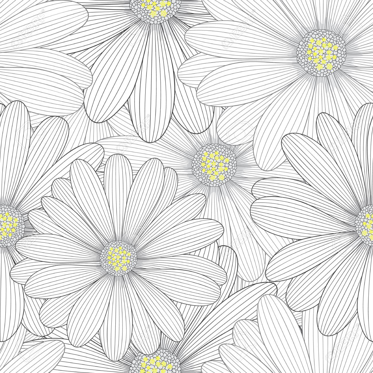 Monochrome seamless hand drawing floral background with flower monochrome seamless hand drawing floral background with flower daisies stock photo 76872696 izmirmasajfo