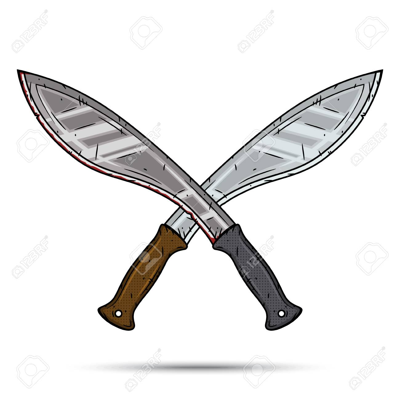 two crossed cartoon machetes cartoon kukri vector illustration