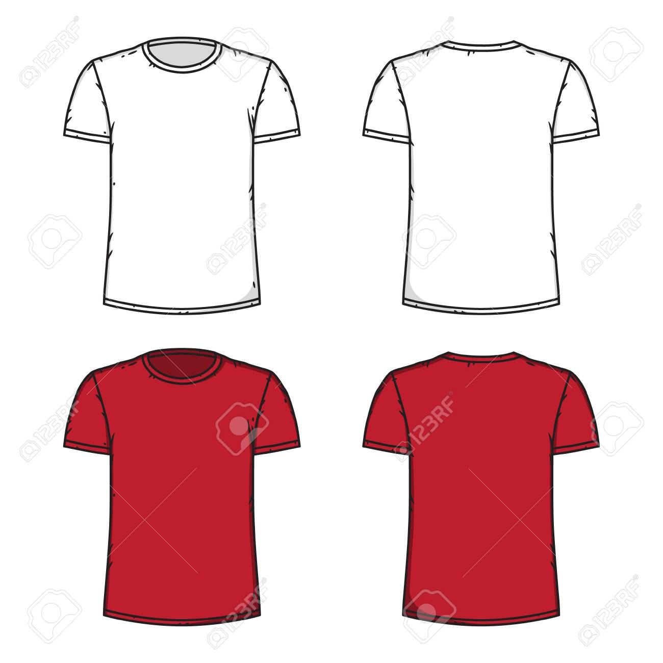Blank White And Red T Shirt Template Front And Back Royalty Free