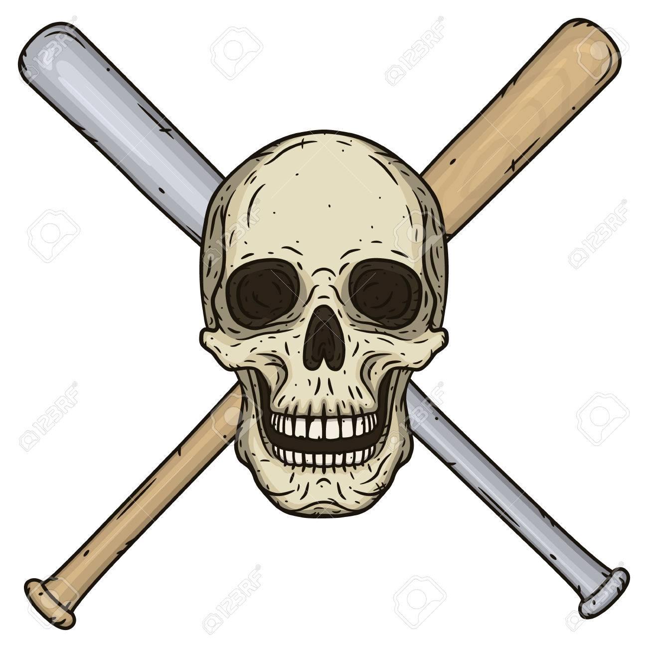 vector illustration of human skull with crossed baseball bats rh 123rf com Baseball Bat Wrapped in Barbed Wire Animated Baseball Bat