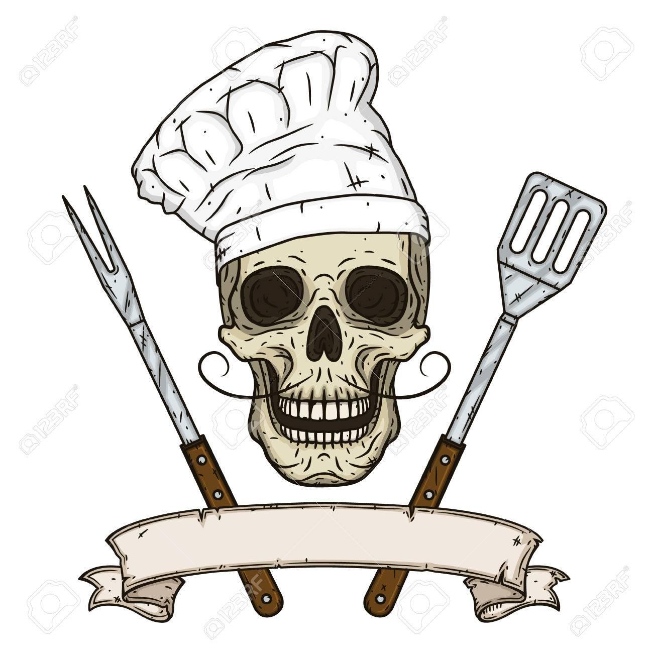Dessin Barbecue crâne en toque et outils de barbecue croisés. crâne de dessin animé