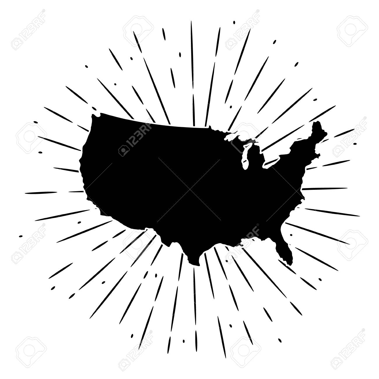 vector illustration with map usa and divergent rays used for poster banner web