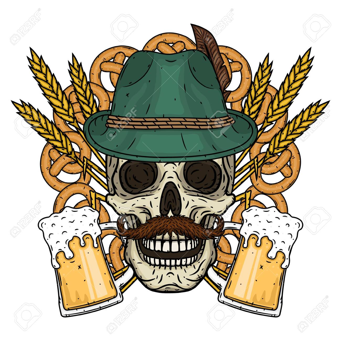 Illustration for oktoberfest. Skull in Tyrolean hat, with ears of wheat and glass of beer. - 136126394