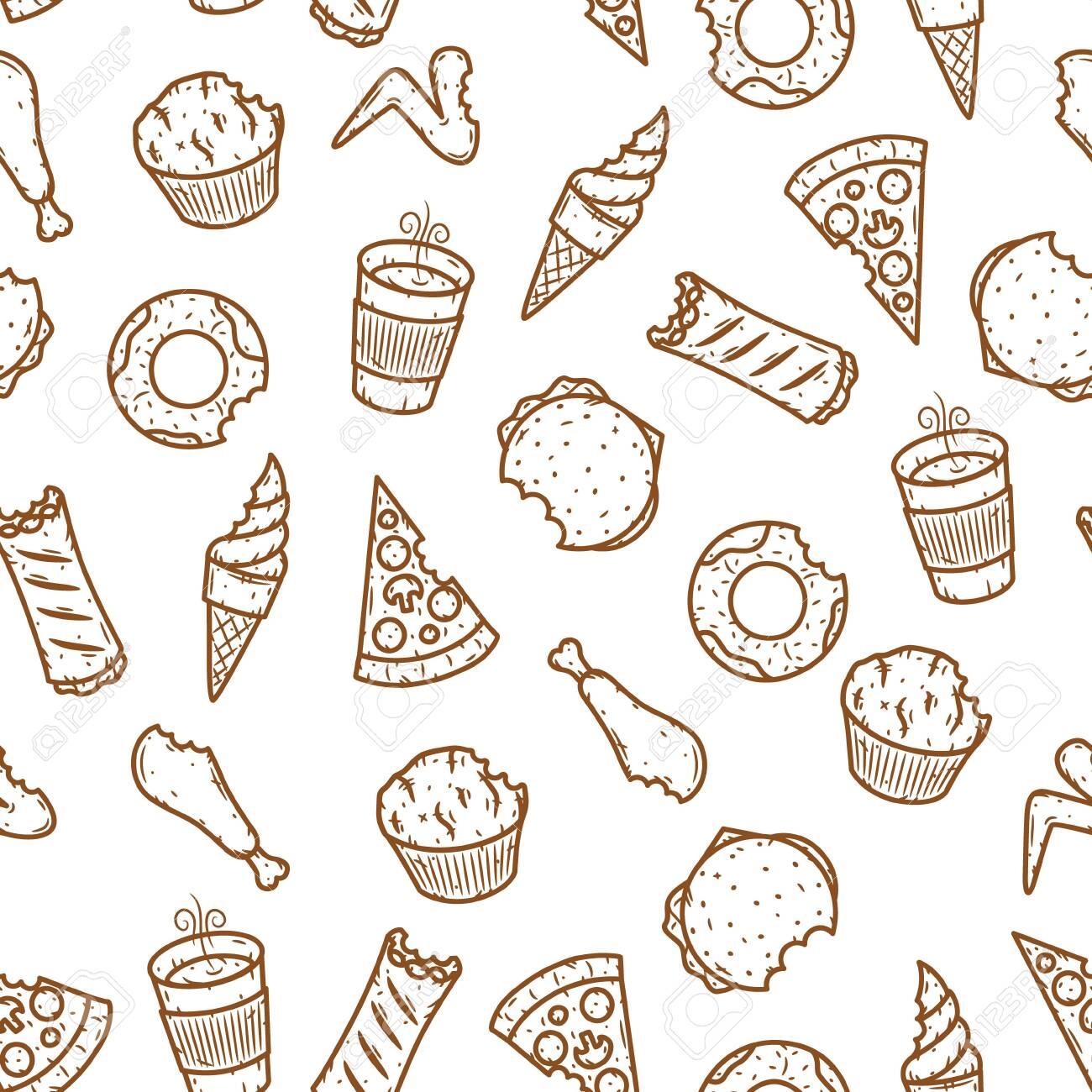 Seamless fast food pattern. Vector fast food pattern. - 148507015