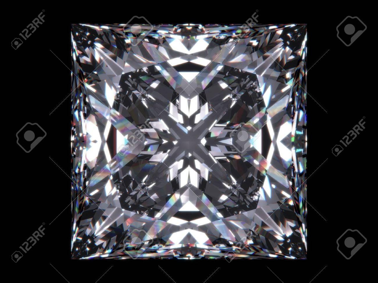 Diamond princess cut (Diamond series; isolated 3d jewellery series) Stock Photo - 6269342