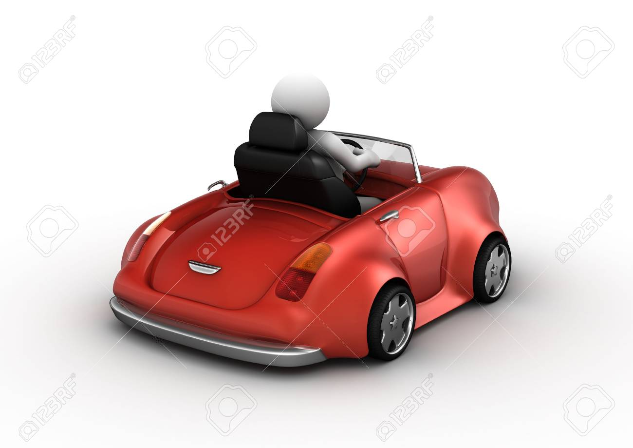 Red cabrio driven by 3d character (funny micromachines series) Stock Photo - 6389461