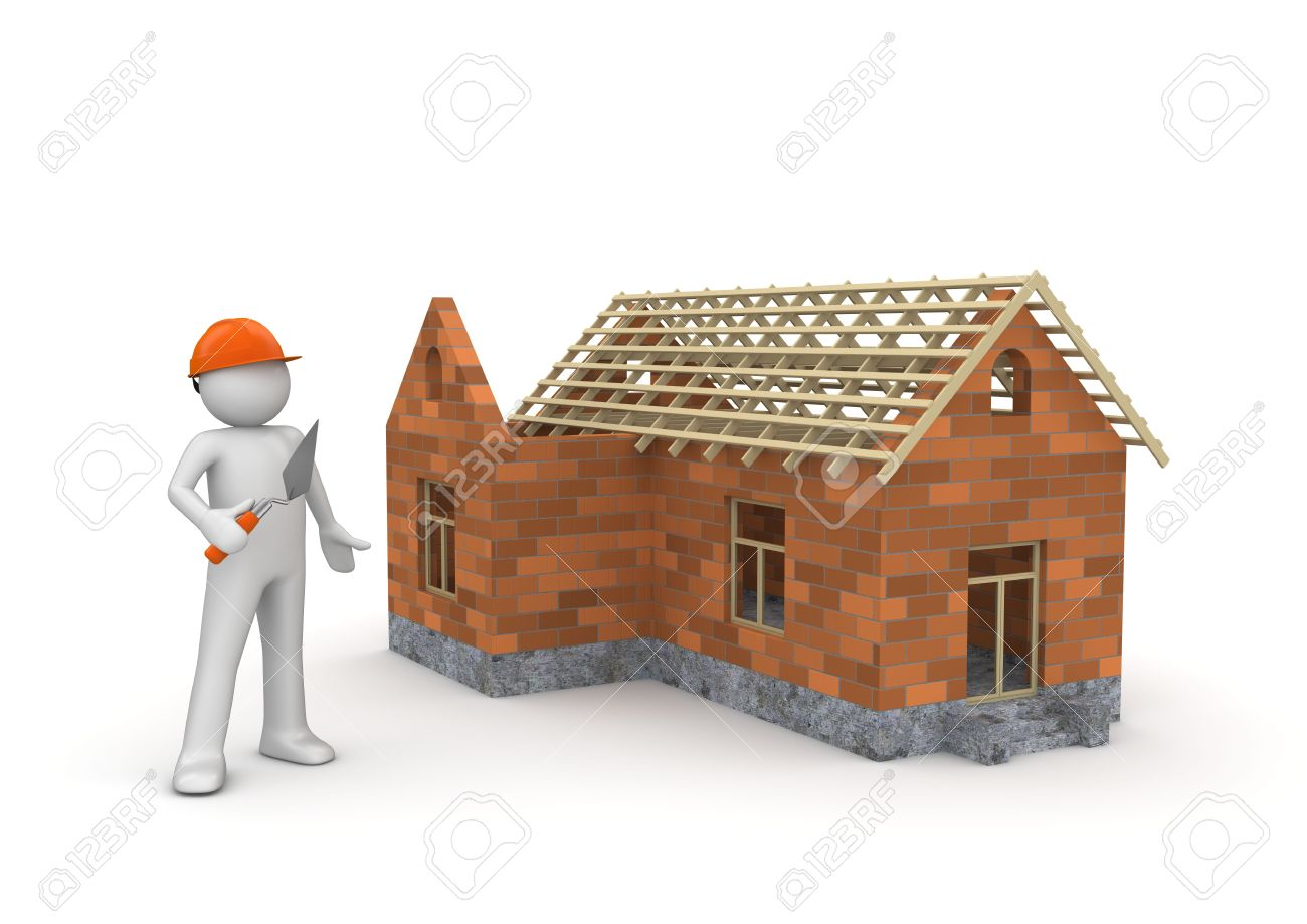 Marvelous Builder / Under Construction Wireframe House (3d Isolated On White  Background Characters Series) Stock