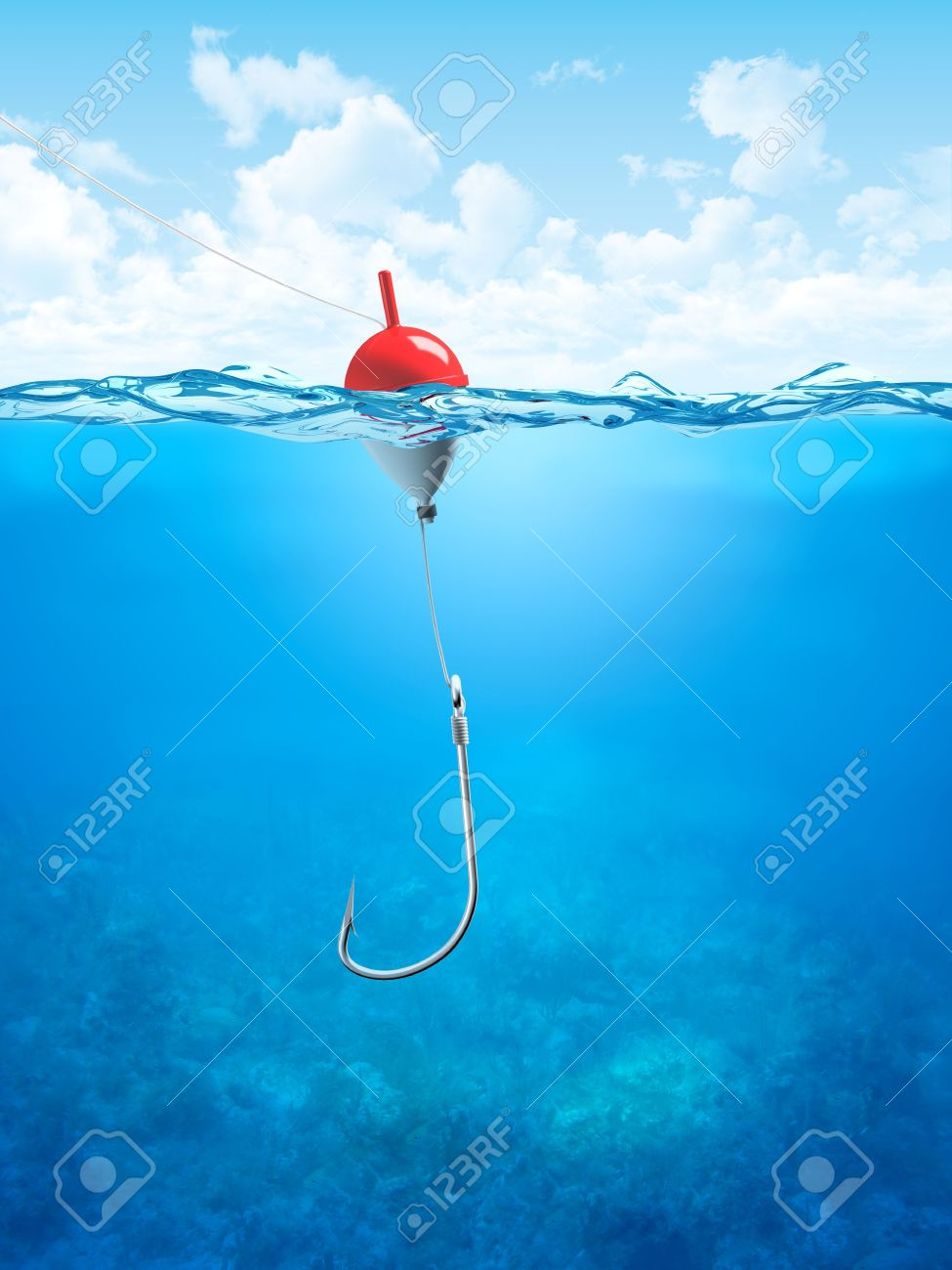 Float, fishing line and hook underwater (3d illustrations concepts series to use as backgrounds or workpieces) - 6465017