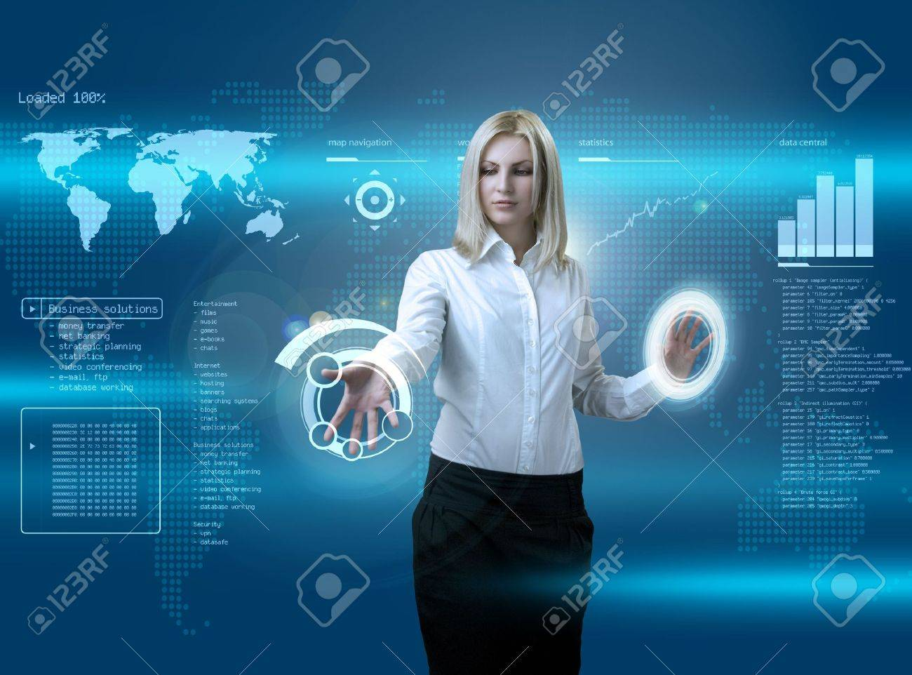 Attractive blonde navigating futuristic interface (outstanding business people in interiors / interfaces series) Stock Photo - 6540289