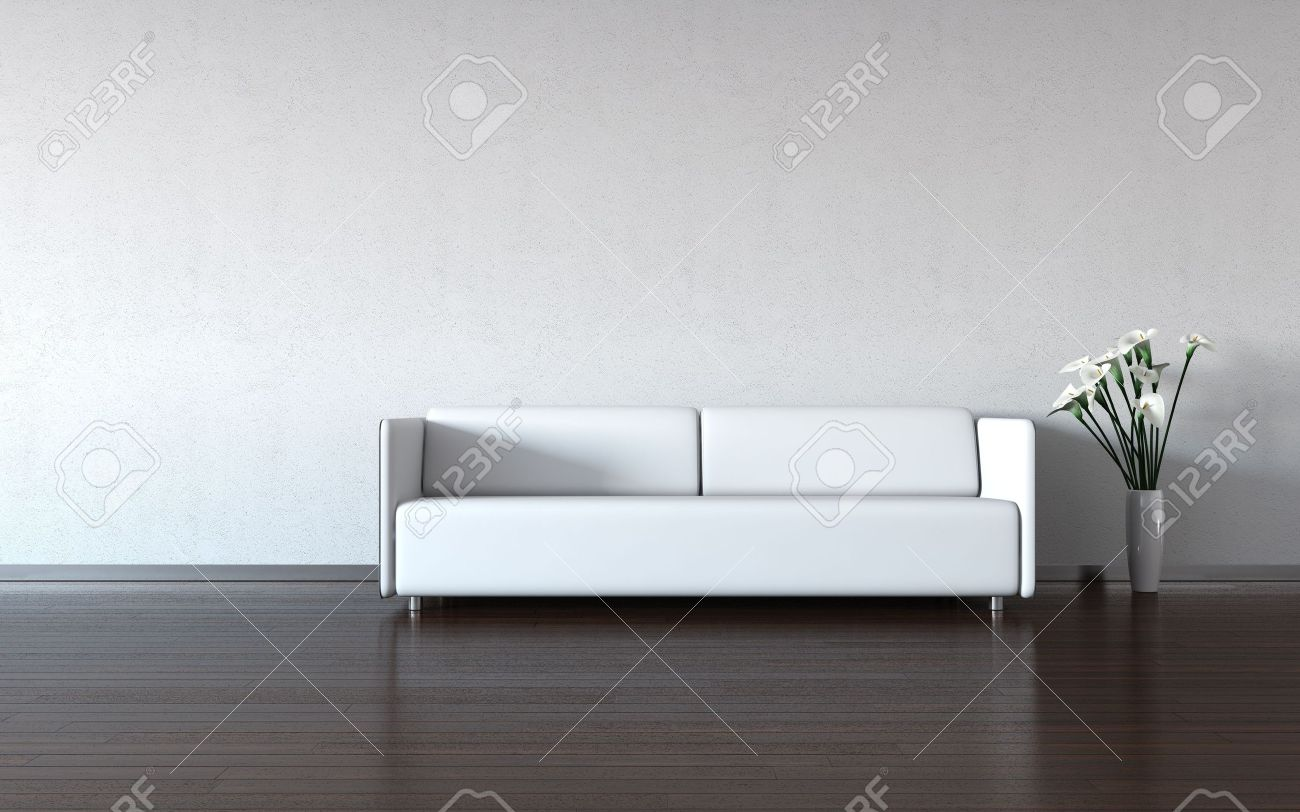 Minimalism: white couch and vase by the wall (3d minimalism HQ interiors with copy spaces series) Stock Photo - 6597380