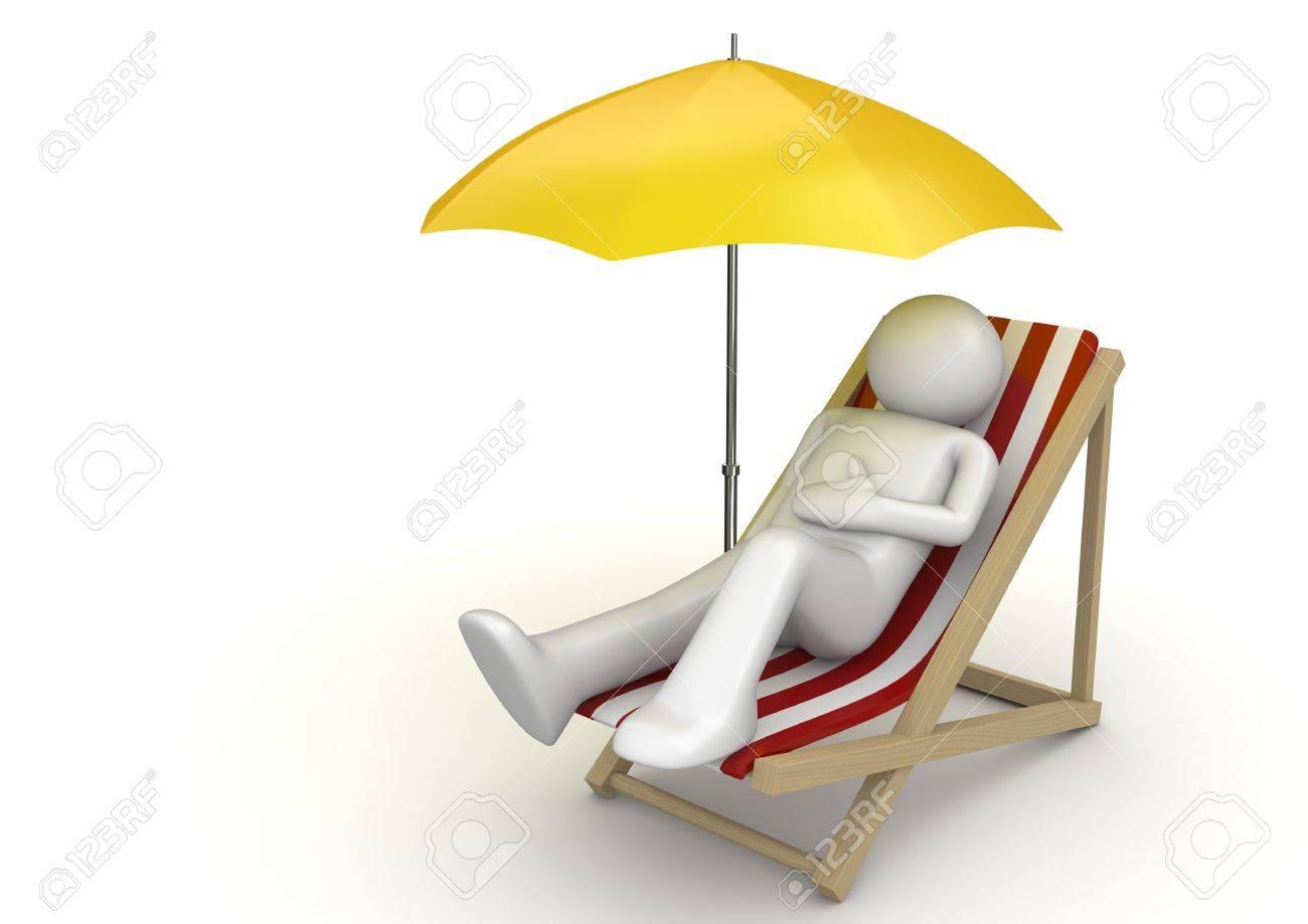 Menschen Die Auf Einen Stuhl Ynder Sonnenschirm Liegen 3d Isoliert
