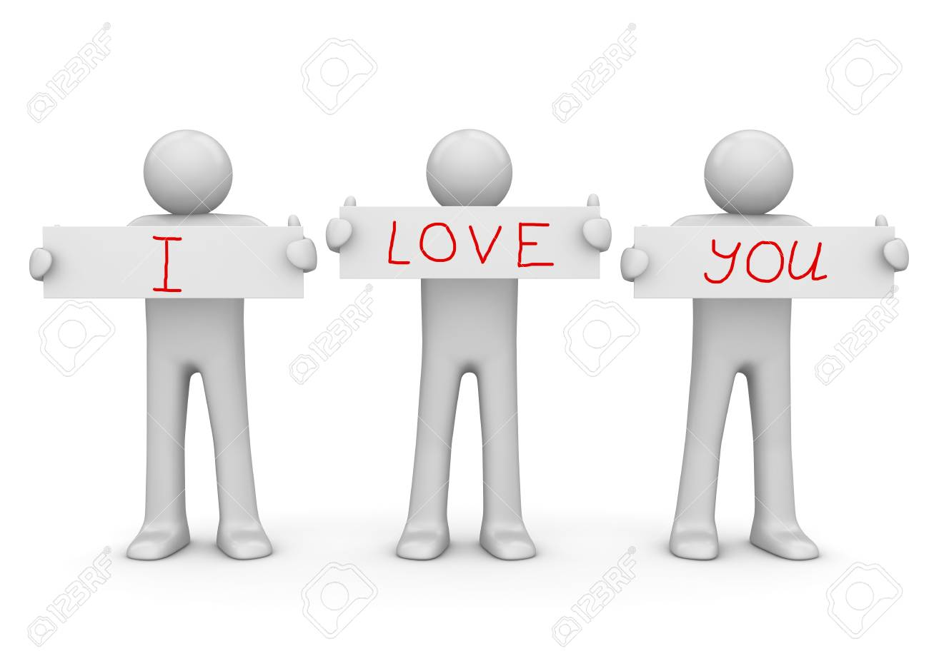 Holding I LOVE YOU banners with copy space Stock Photo - 7696052