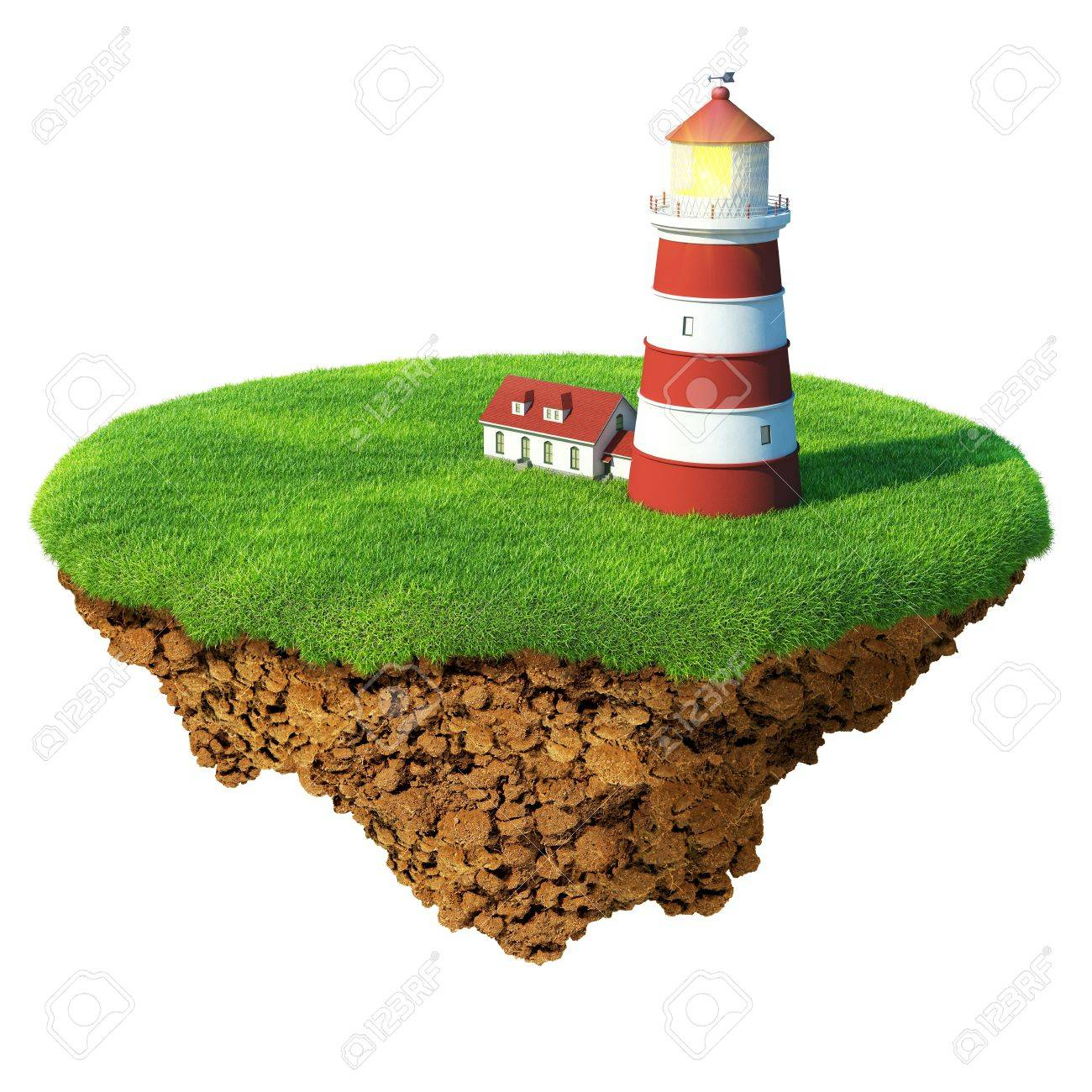 Lighthouse on the island. Detailed ground in the base. Concept of success and happiness, idyllic ecological lifestyle. Stock Photo - 8996092