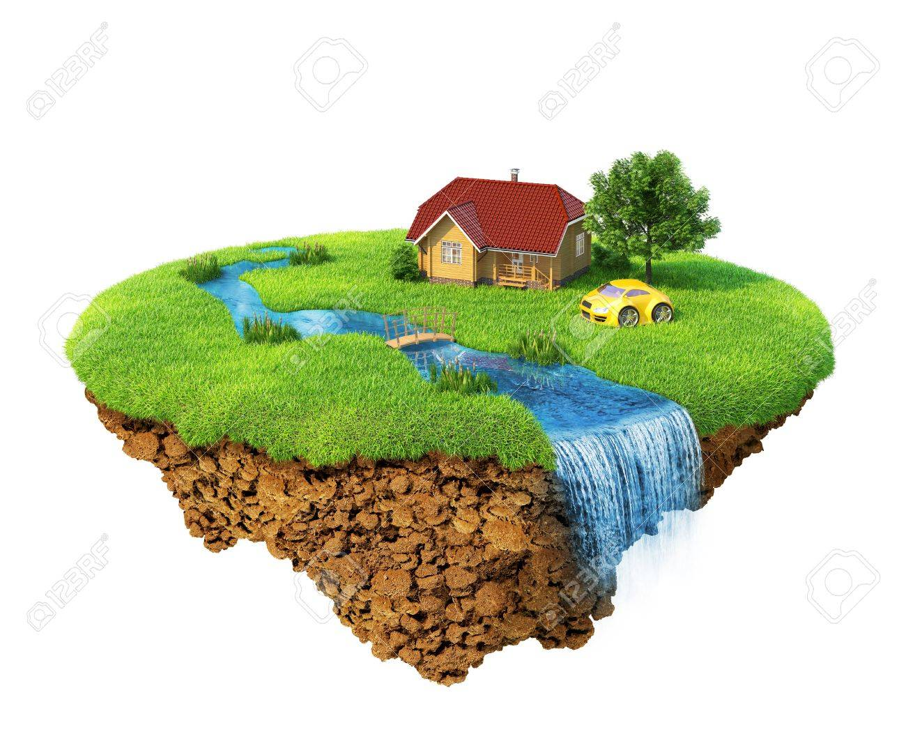 Life of a dream. Lawn with house, river, waterfall, tree and sports car. Fancy island in the air isolated. Detailed ground in the base. Concept of success and happiness, idyllic ecological lifestyle. Stock Photo - 9056615