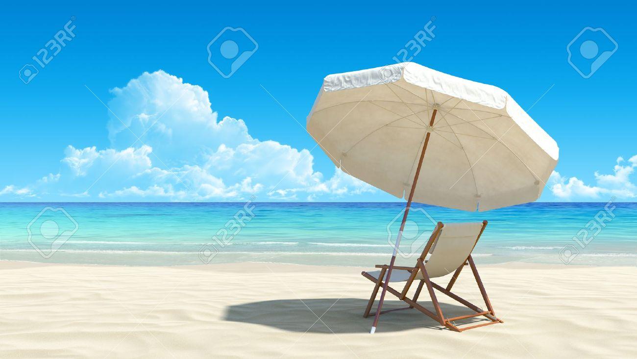 Tropical Beach Chairs Beach chair and umbrella on