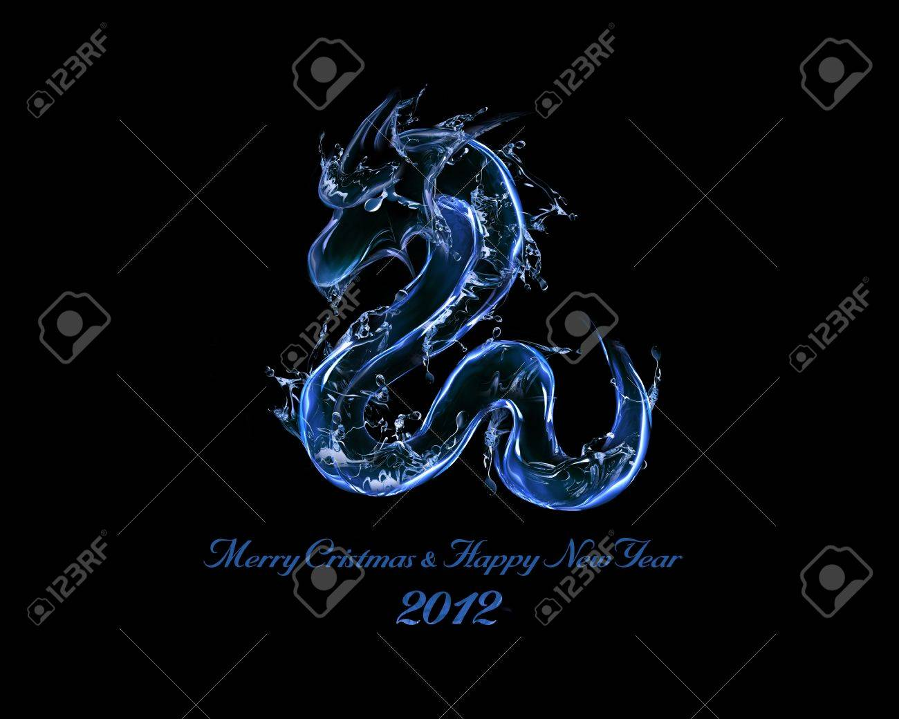 2012 is Year of Black Water Dragon: liquid concept of New Year 2012 illustration for greeting card, calendar cover Stock Illustration - 11454717