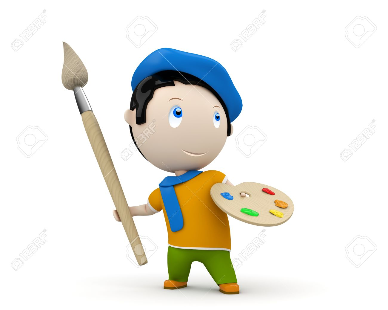 painter with brush and palette wearing beret and scarf. Stock Photo - 12426736