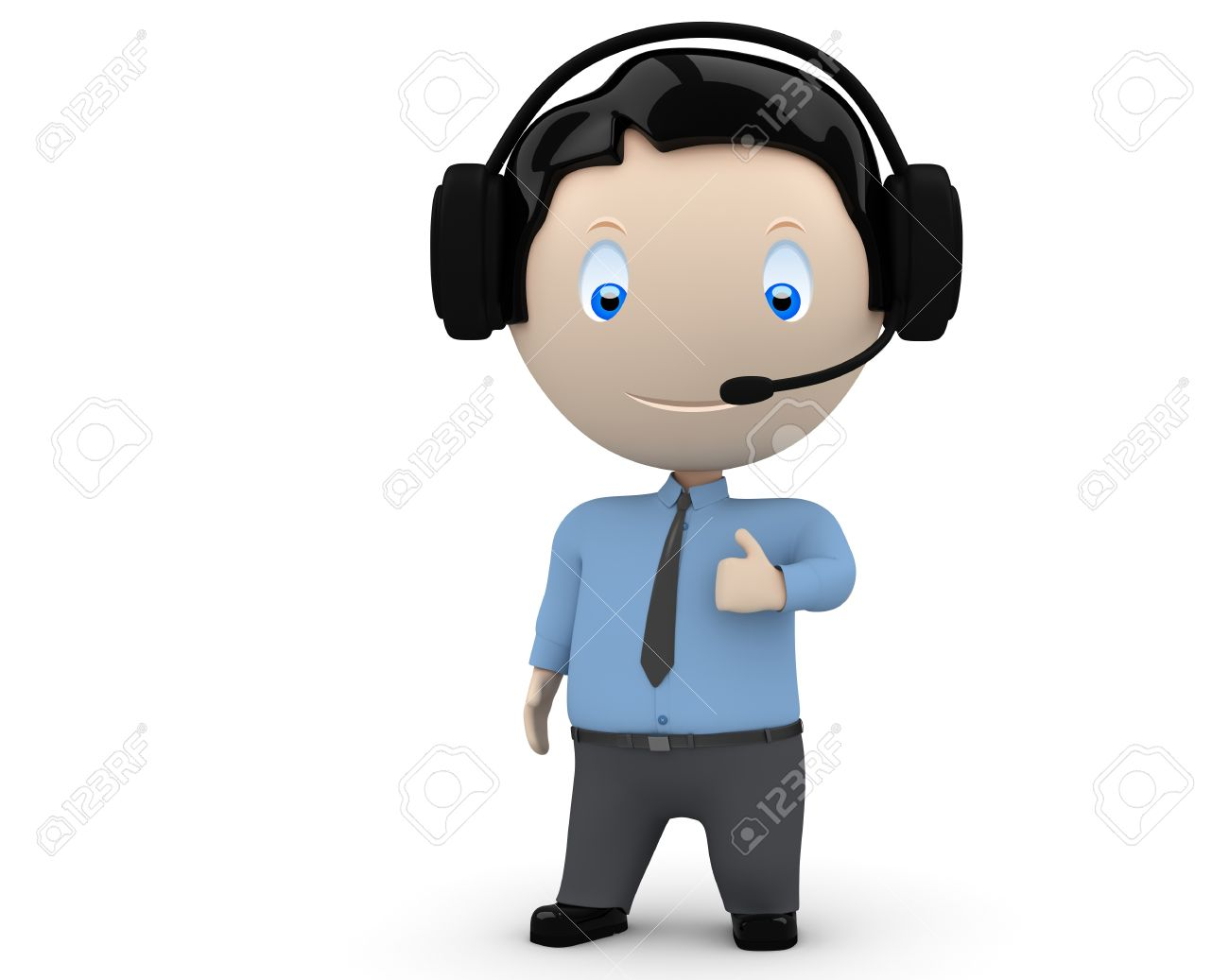 happy young man wearing headset, necktie and shirt showing big finger. Stock Photo - 12426750