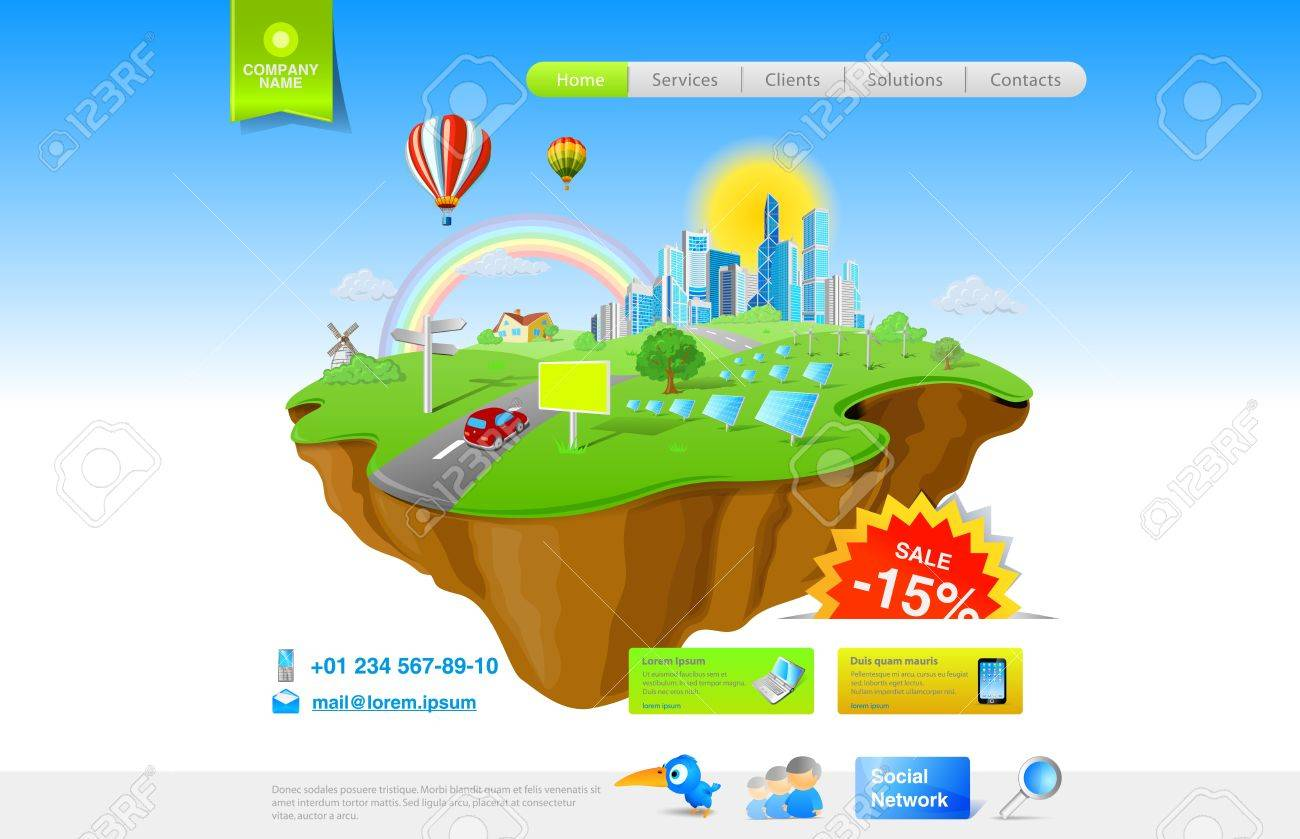 Website promo template. Flying Island concept for Ecology, Innovation, Energy, Fun themes and etc. Stock Vector - 12840978