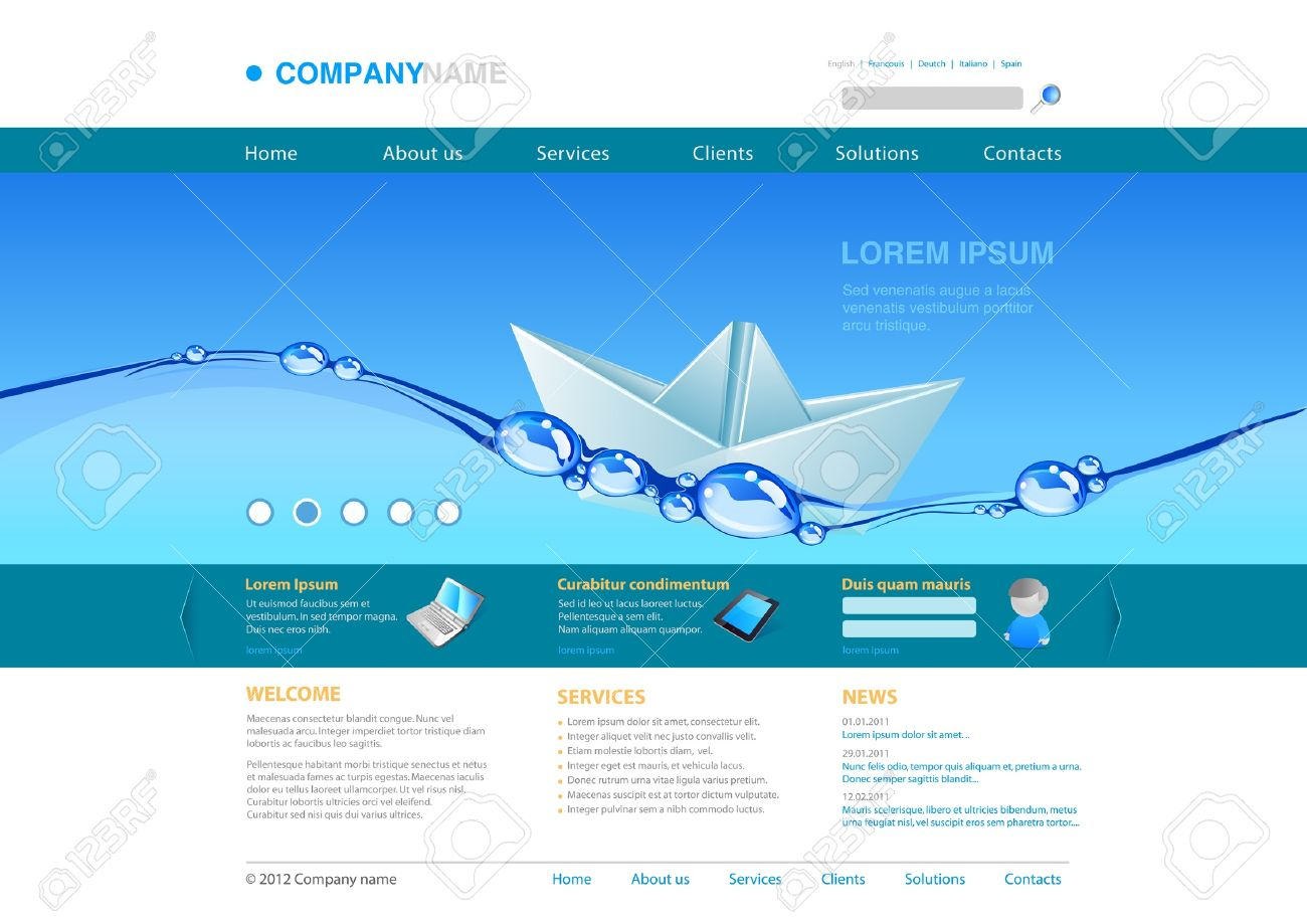 Website Template Water Paper Boat Business Concept Stock Vector