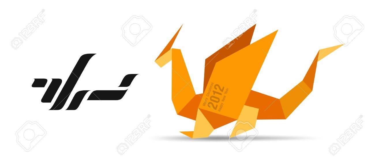 Dragon origami concept Logo - 13452573