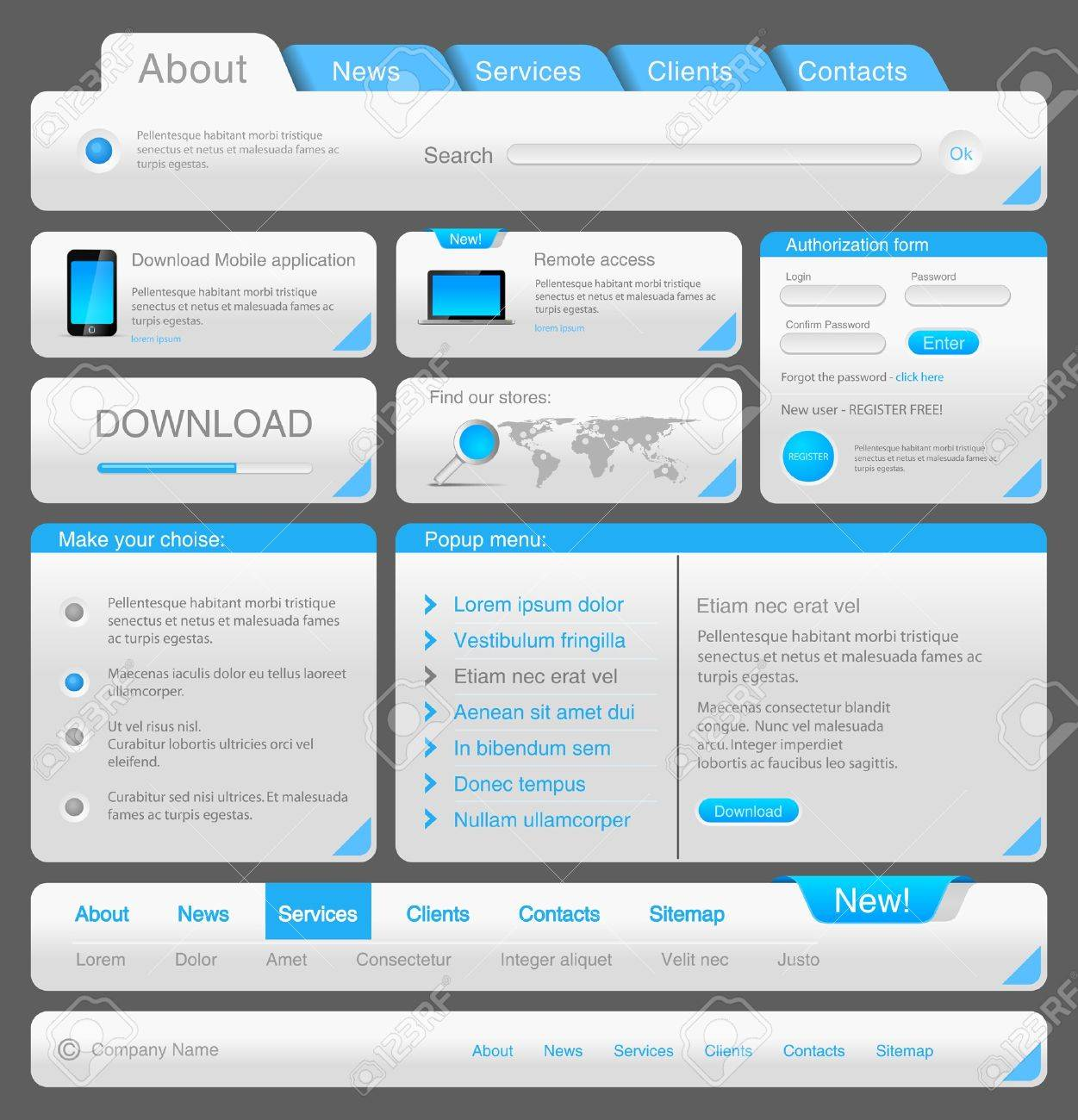 Web designers toolkit. Design elements collection. Vector. Editable. Stock Vector - 13910912