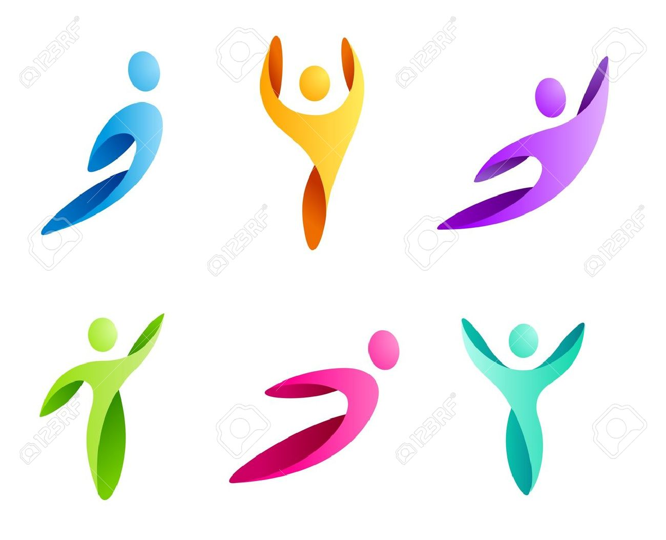 Logo Business Abstract. Sport man icon set. Flying, rushing activity. Vector. Stock Vector - 14095827