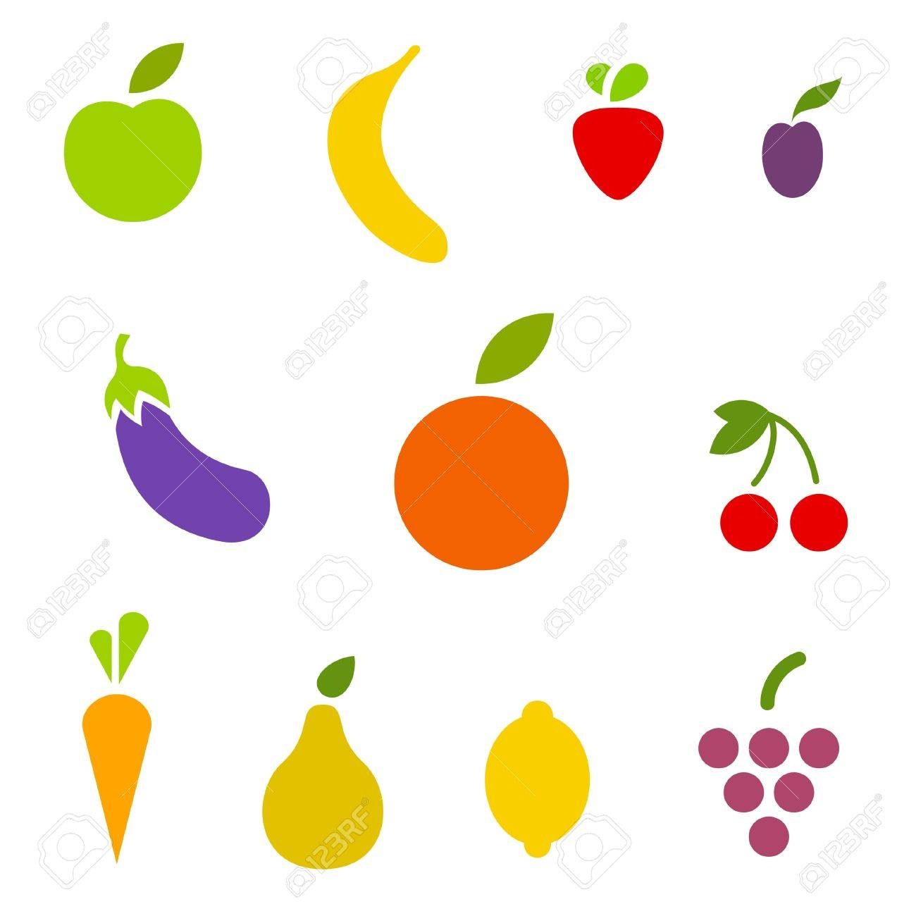 fruits and vegetables icon set vector editable royalty free