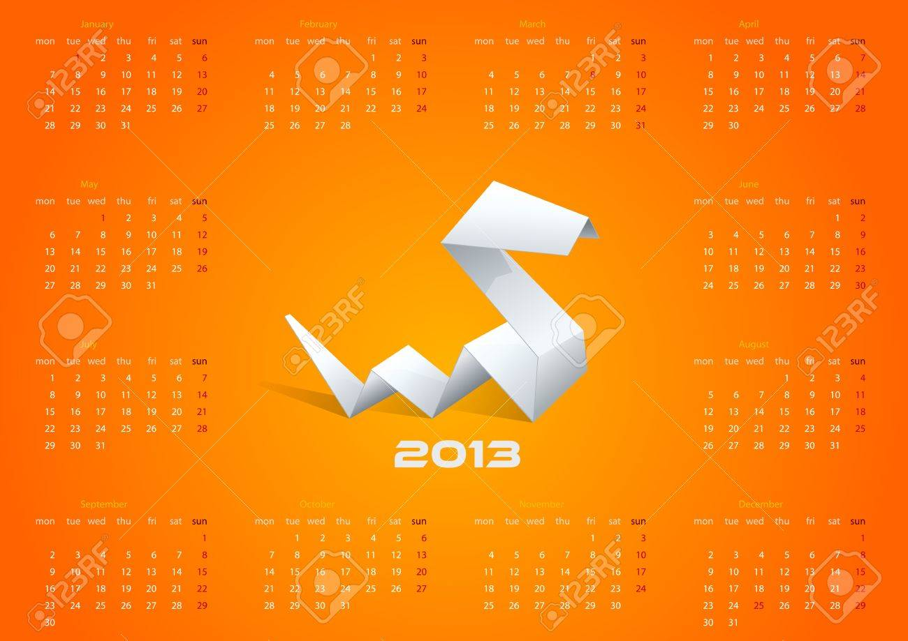 2013 origami calendar year of snake template editable royalty free