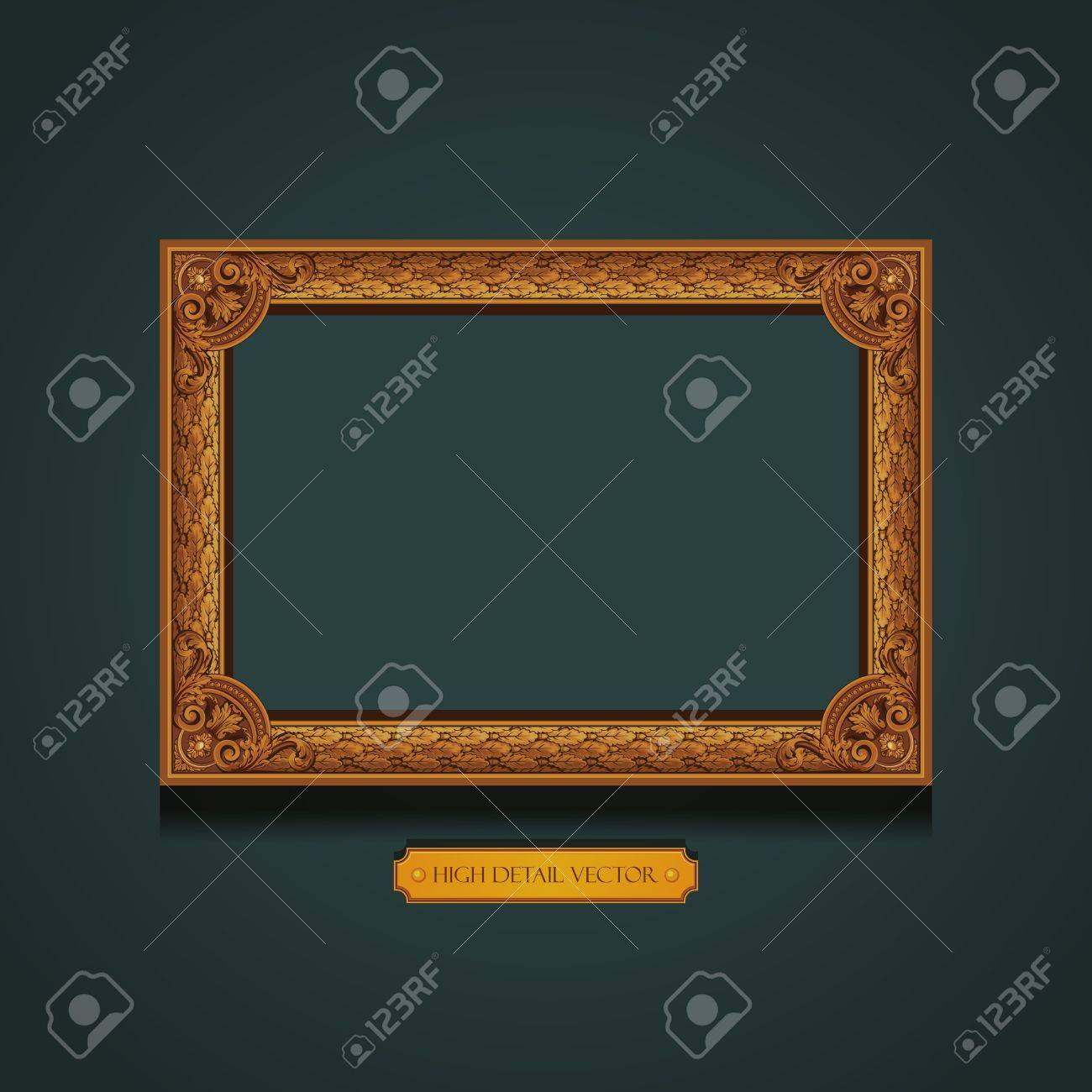 Vintage Picture Frame on the wall  Floral pattern wallpaper Stock Vector - 17204949