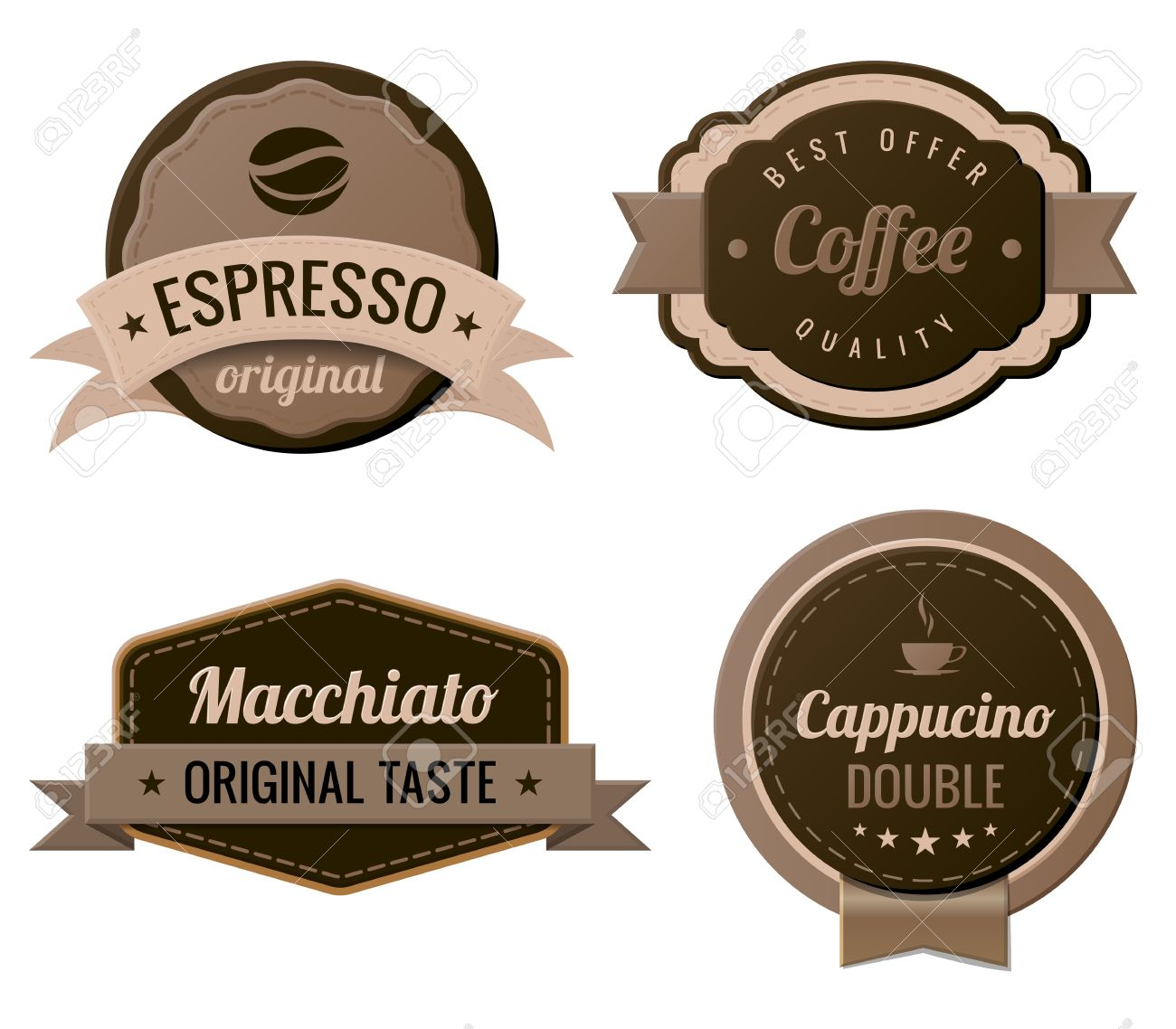 coffee vintage labels template collection retro royalty free